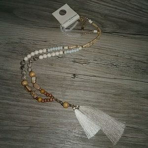 Lucky Brand stone and bead tassel necklace